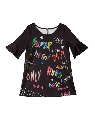 Bell-Sleeve Graffiti-Print Scuba Dress, Size 7-14