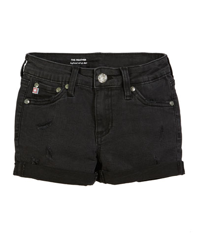 Girls' Heather Distressed Rolled-Cuff Shorts, Size 7-14