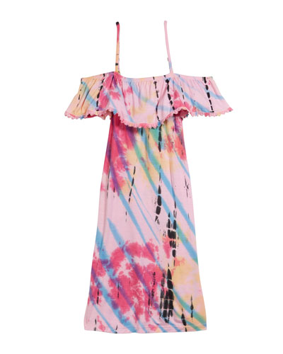 Tie Dye Cold-Shoulder Dress, Size S-XL