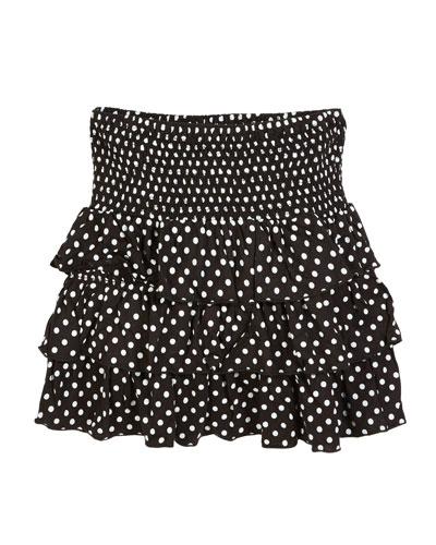 Smocked Ruffle Polka-Dot Skirt, Size S-XL