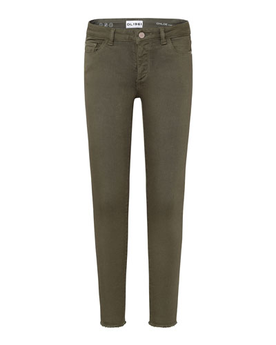 Girls' Raw Hem Skinny Green Pants, Size 7-16