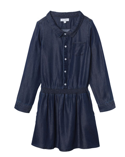 Chambray Long-Sleeve Dress w/ Cinched Waist, Size 7-16