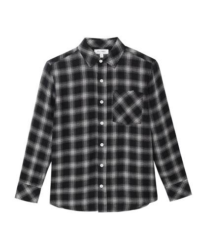 Button-Down Plaid Collared Shirt, Size 7-16