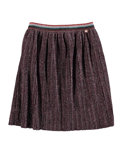 Bailini Pleated Lurex Skirt, Size 3T-14