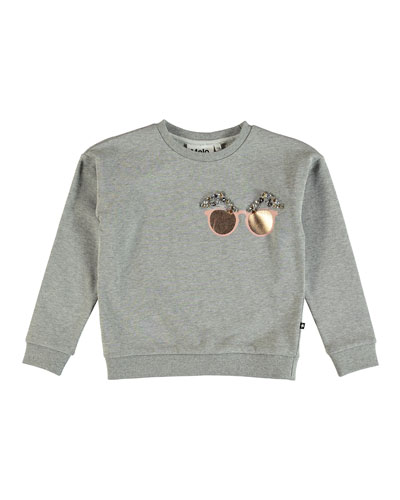 Maila Sweatshirt w/ Beaded Sunglasses Detail, Size 6-14