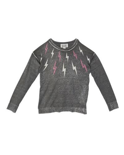 Lightning Bolt Print Long-Sleeve Top, Size 8-14
