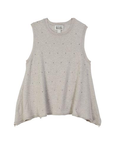 Studded Sleeveless Handkerchief Top, Size 8-14