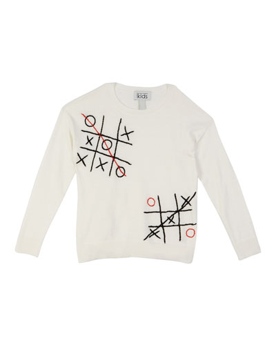 Autumn Cashmere Tic Tac Toe Embroidered Top, Size