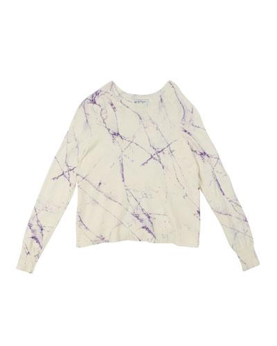 Marble-Print Raglan-Sleeve Top, Size 8-14
