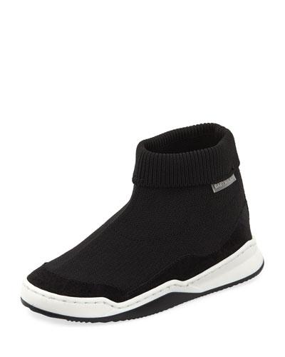 Suede-Trim Sock Sneaker, Toddler