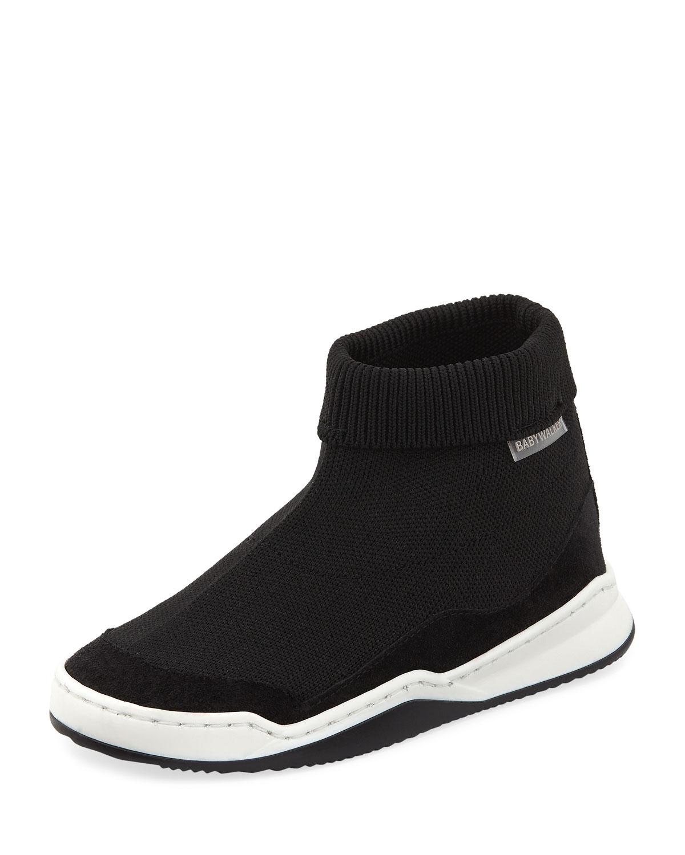 BABYWALKER Suede-Trim Sock Sneaker, Toddler in Black