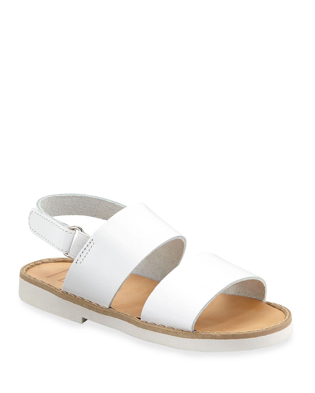 BABYWALKER Double Strap Leather Sandal, Toddler in White