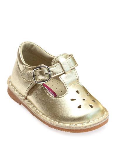 Joy Metallic Leather Cutout T-Strap Mary Jane, Baby/Toddler/Kids
