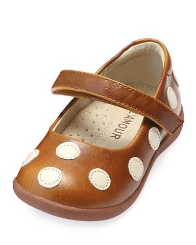 Mara Polka-Dot Leather Mary Jane, Size Baby/Toddler/Kids