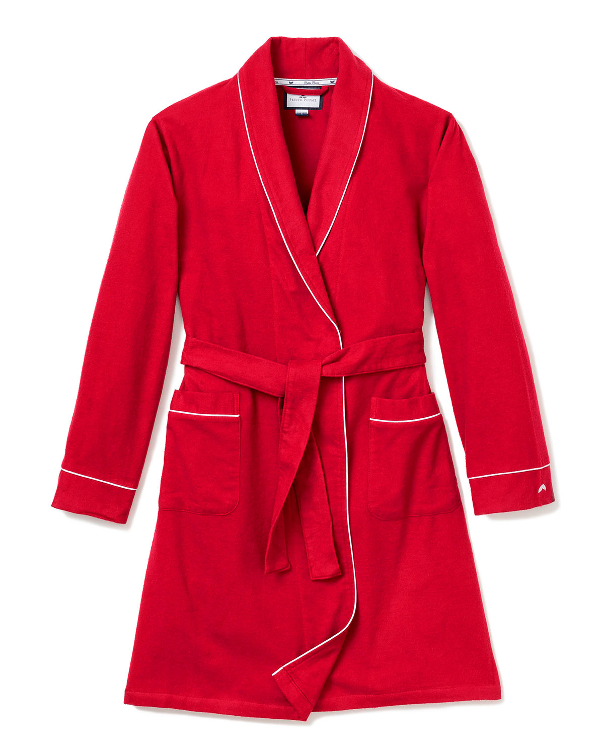 Petite Plume FLANNEL CONTRAST-PIPING ROBE