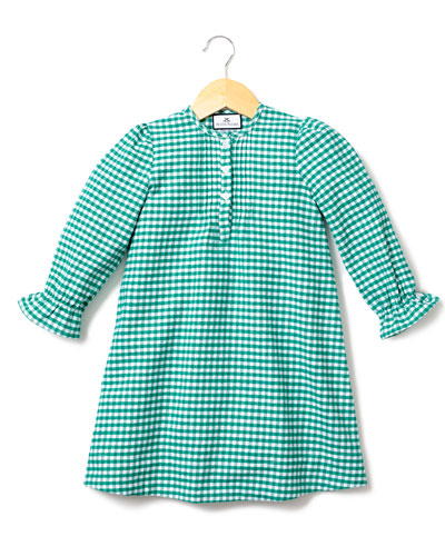 Beatrice Gingham Flannel Nightgown, Size 6M-14