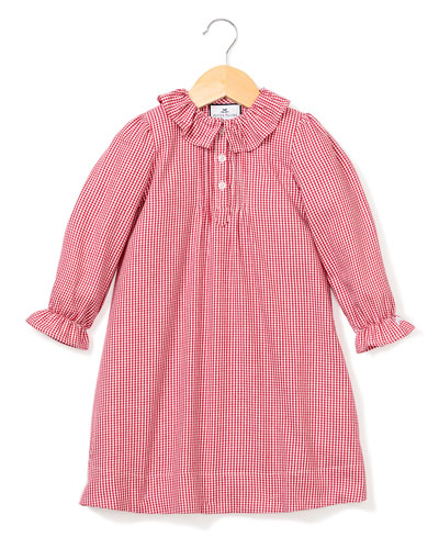 Victoria Ruffle-Collar Gingham Nightgown, Size 6M-14