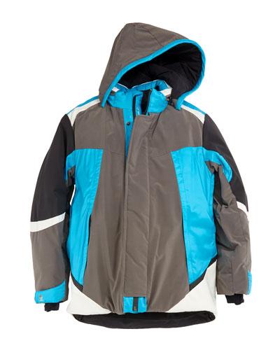Boys' Colorblock Ski Jacket w/ Removable Hood, Size 10-14