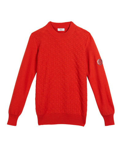 Boys' Textured Knit Cashmere Sweater, Size 12