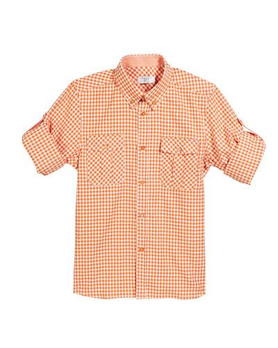 Boys' Check Long-Sleeve Ski Shirt