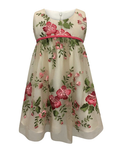 Floral Embroidery Lace Dress, Size 7-14