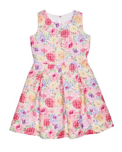 Floral Basket Weave Sleeveless Dress, Size 7-14