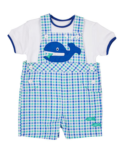 A Whale Of A Tale Check Gingham Shortall & Tee, Size 3-24 Months