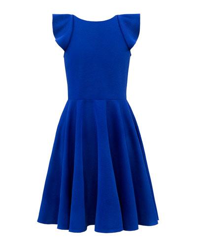 Rib Knit Dress w/ Waterfall Ruffle Back, Size 8-16