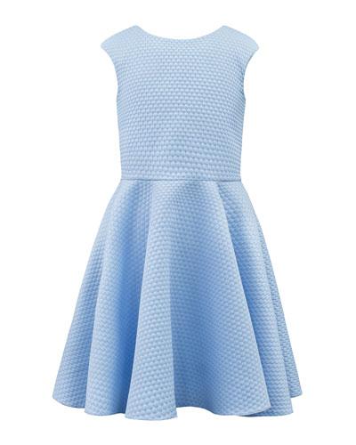 Textured Pique Knit Dress w/ Elastic Back Straps, 8-16