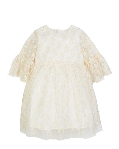 3/4-Sleeve Lace Dress, Size 10-12