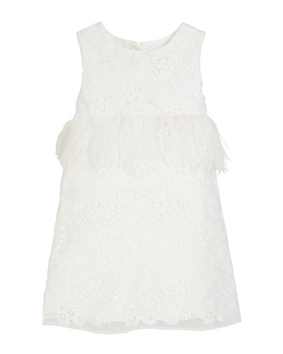 Special Occasion Feather-Trim Lace Dress, Size 10-12