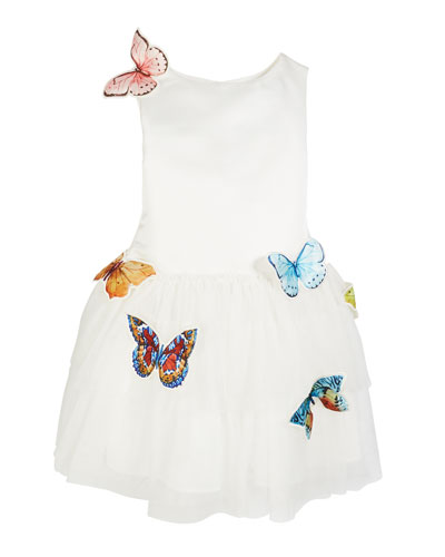 Charabia Nelly Sleeveless Tulle Dress with Butterflies, Size