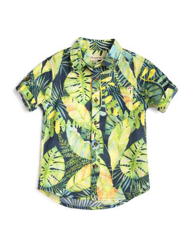 Botanical Leaf-Print Collared Shirt, Size 2-14