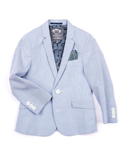Striped Cotton Blazer Jacket, Size 2-14