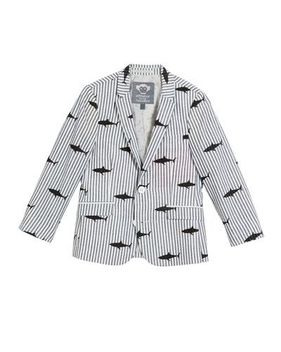 Striped Shark-Print Blazer, Size 2-14