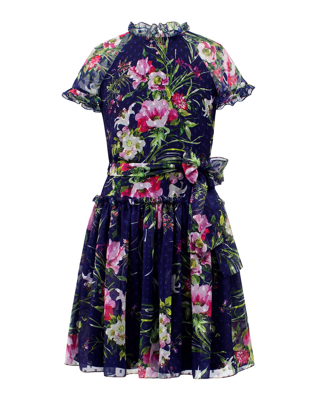 Dot Floral Chiffon High-Neck Dress
