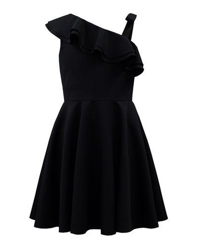 Crepe One-Shoulder Dress, Size 8-16