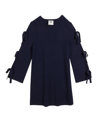 Tie-Sleeve Knit Shift Dress, Size 2T-6