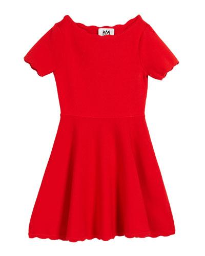 Scalloped Knit Short-Sleeve Flare Dress, Size 4-6