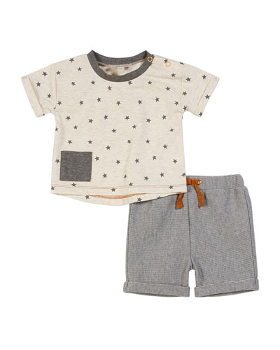 Star-Print Top w/ Striped Bermuda Shorts, Size 3-24 Months
