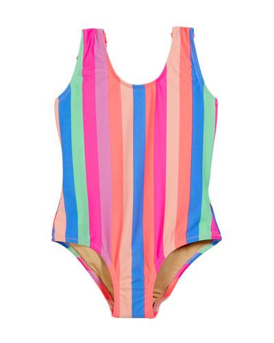 Chasing Rainbow Stripe Fringe-Back One-Piece Swimsuit, Size 2-6