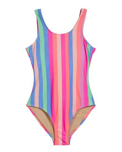 Chasing Rainbow Stripe Fringe-Back One-Piece Swimsuit, Size 7-14