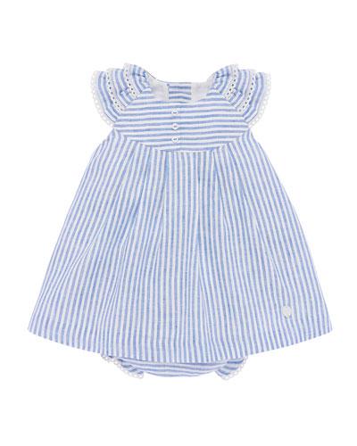 Ticking Striped Dress w/ Matching Bloomers, Size 6M-3