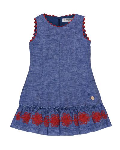 Denim Dress w/ Rack Rack Passementerie Skirt, Size 4-10