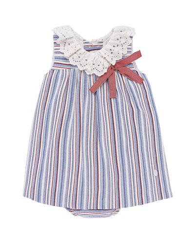 Eyelet-Collar Striped Dress w/ Matching Bloomers, Size 12M-3
