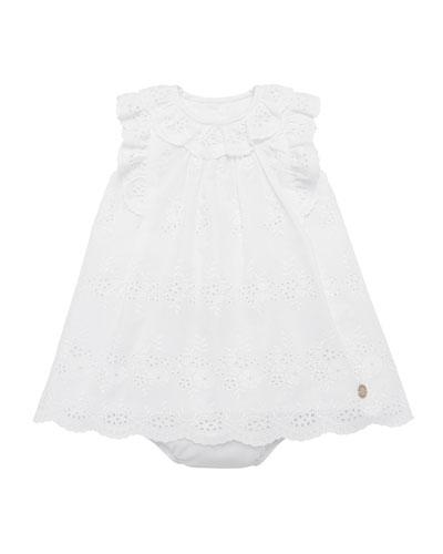 Ruffle-Trim Eyelet Dress w/ Bloomers, Size 12M-3