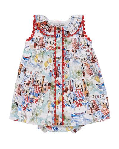 Beach Town Print Sleeveless Dress w/ Bloomers, Size 12M-3