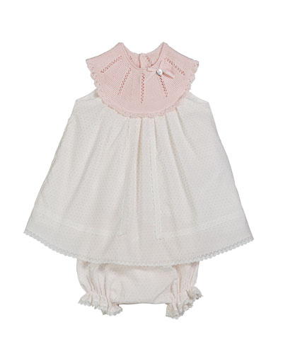 Polka Dot Knit Yoke Dress w/ Bloomers, Size 6M-3