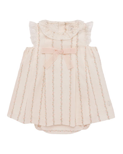 Lace-Trim Floral Striped Dress w/ Bloomers, Size 3-18 Months