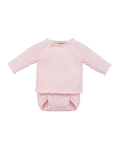 Waffle Knit Sweater w/ Matching Diaper Cover, Size 3-12 Months